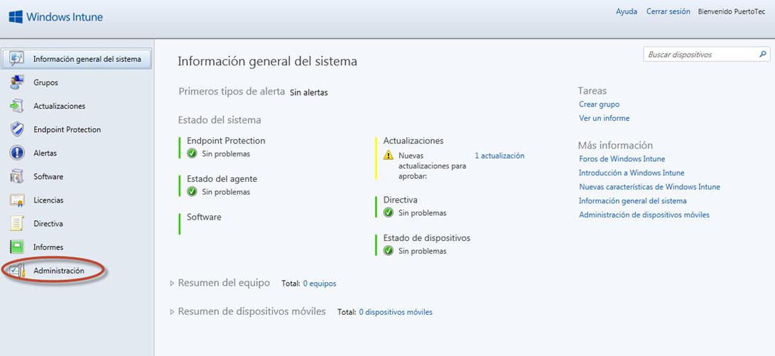 Ilustración 57 - Consola de Administración de Windows Intune. Configuración de alertas y notificaciones.