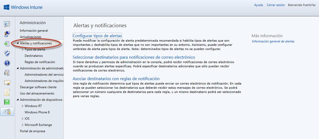 Ilustración 58 - Consola de Administración de Windows Intune. Configuración de alertas y notificaciones.