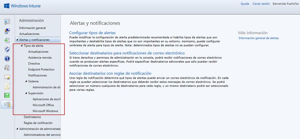 Ilustración 59 - Consola de Administración de Windows Intune. Configuración de alertas y notificaciones.