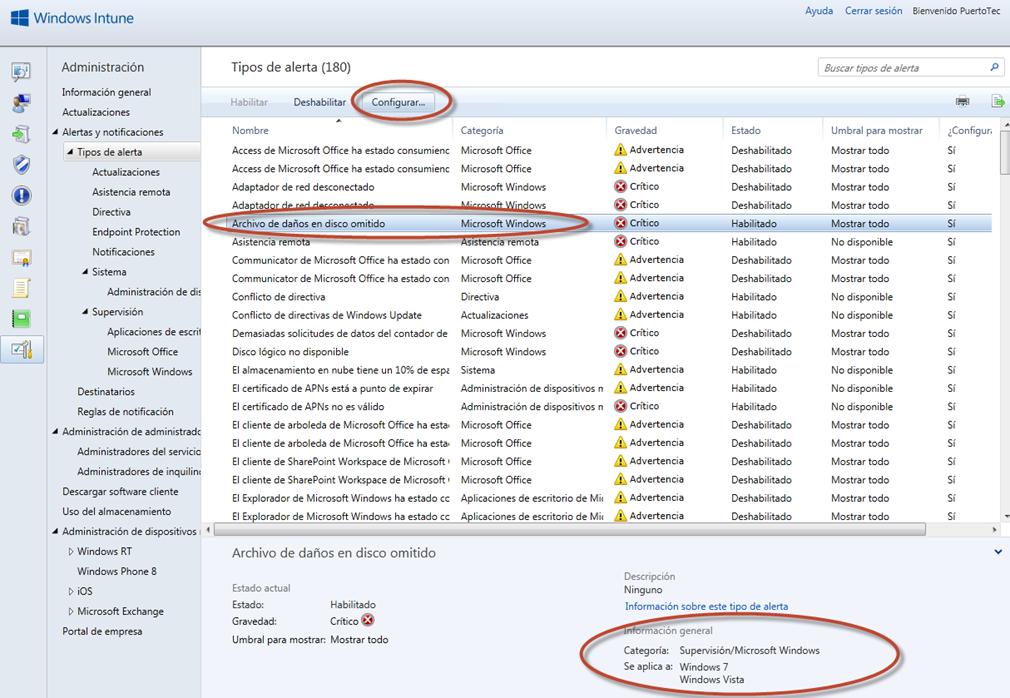 Ilustración 60 - Consola de Administración de Windows Intune. Configuración de alertas y notificaciones.