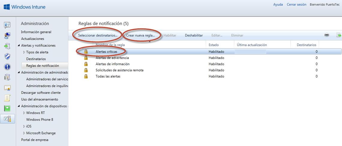 Ilustración 62 - Consola de Administración de Windows Intune. Configuración de alertas y notificaciones.