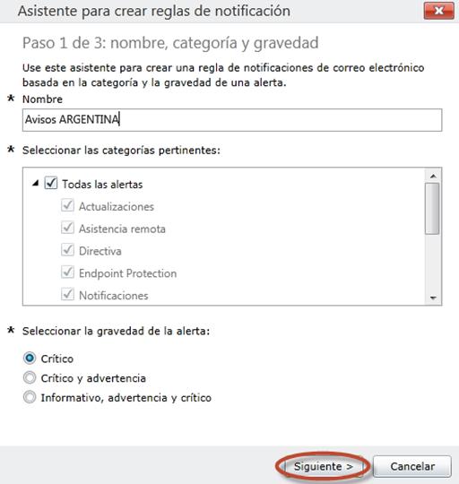 Ilustración 63 - Consola de Administración de Windows Intune. Configuración de alertas y notificaciones.