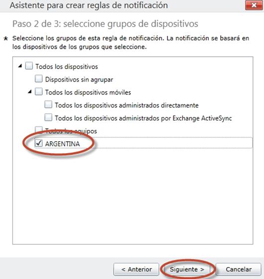 Ilustración 64 - Consola de Administración de Windows Intune. Configuración de alertas y notificaciones.