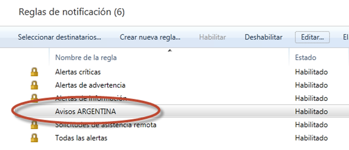 Ilustración 66 - Consola de Administración de Windows Intune. Configuración de alertas y notificaciones.