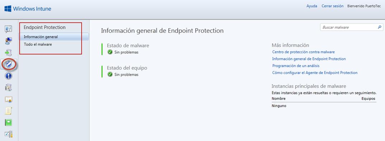Ilustración 72 - Consola de Administración de Windows Intune. Monitoreo Proactivo.