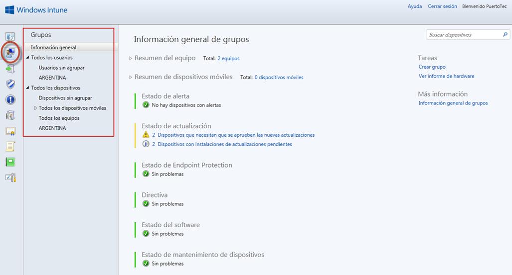 Ilustración 74 - Consola de Administración de Windows Intune. Monitoreo Proactivo.