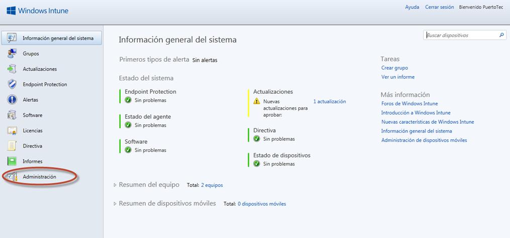 Ilustración 49 - Consola de Administración de Windows Intune. Configuración de updates y auto-aprobaciones.