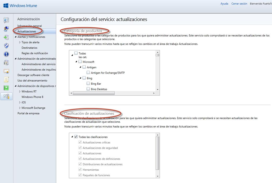Ilustración 50 - Consola de Administración de Windows Intune. Configuración de updates y auto-aprobaciones.