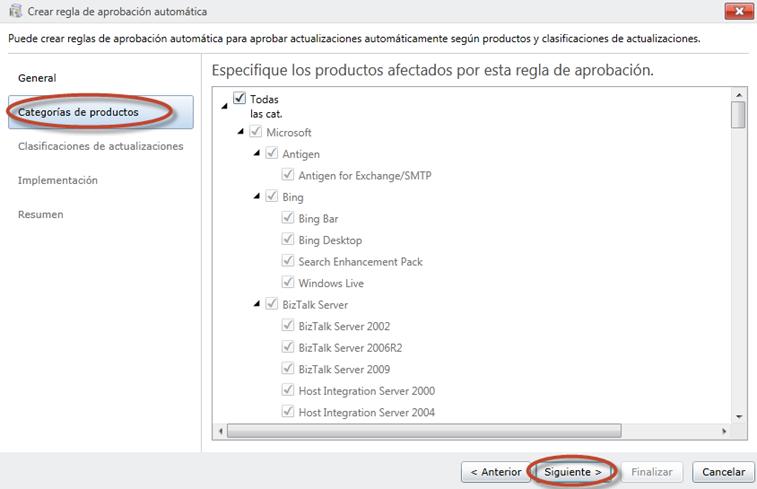 Ilustración 53 - Consola de Administración de Windows Intune. Configuración de updates y auto-aprobaciones.