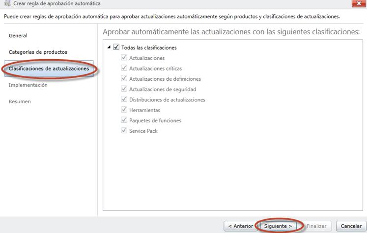 Ilustración 54 - Consola de Administración de Windows Intune. Configuración de updates y auto-aprobaciones.