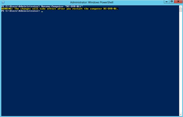"""Ilustración 2 – Confirmación del comando """"Rename-Computer"""" en Windows Server 2012."""