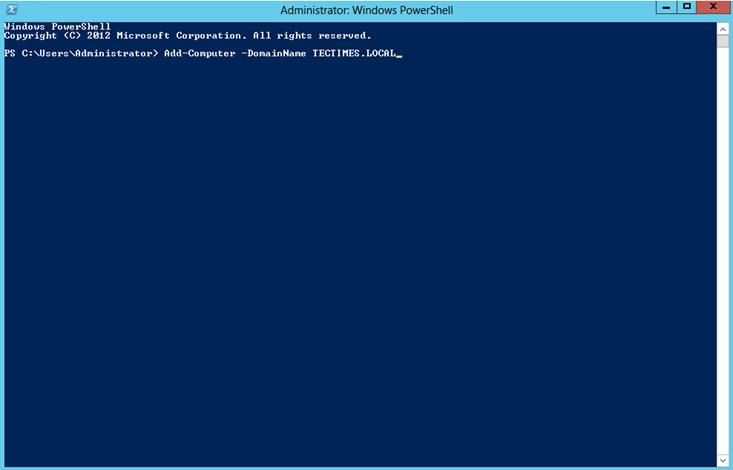 """Ilustración 1 – Ejecución de comando """"Add-Computer"""" para agregar el servidor miembro al dominio de Active Directory Domain Services llamado TECTIMES.LOCAL."""