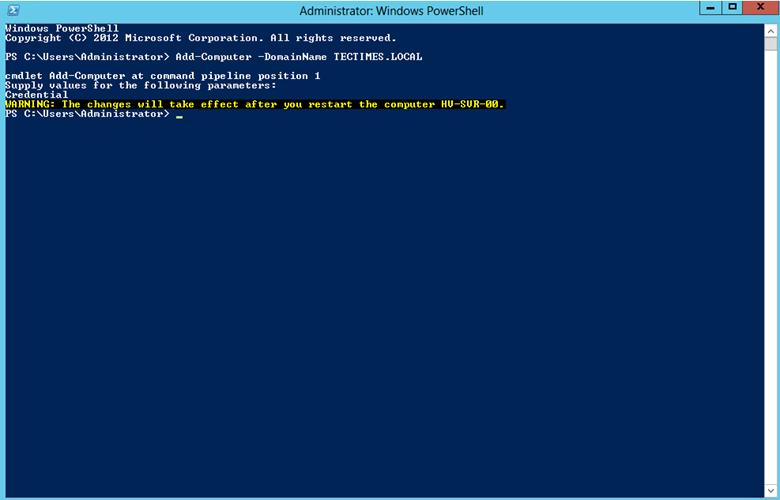 """Ilustración 3 – Ejecución de comando """"Add-Computer"""" para agregar el servidor miembro al dominio de Active Directory Domain Services llamado TECTIMES.LOCAL."""