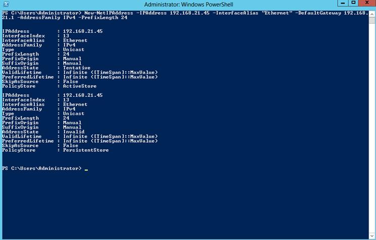 "Ilustración 1 – Salida del comando ""New-NetIPAddress"" para configurar parámetros de red en Windows Server 2012."