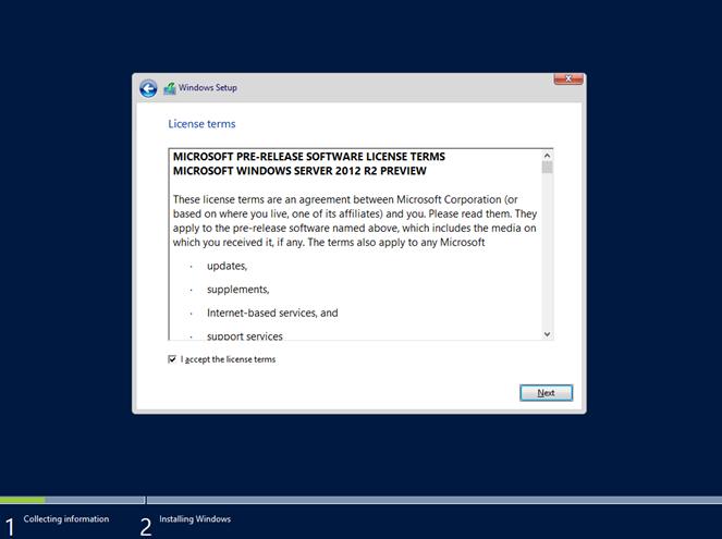 Ilustración 7 – Instalación de Windows Server 2012 R2 Preview.