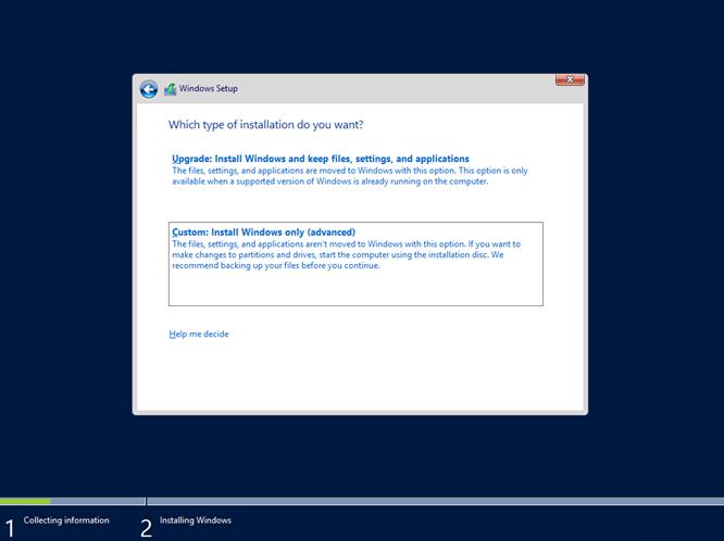 Ilustración 8 – Instalación de Windows Server 2012 R2 Preview.
