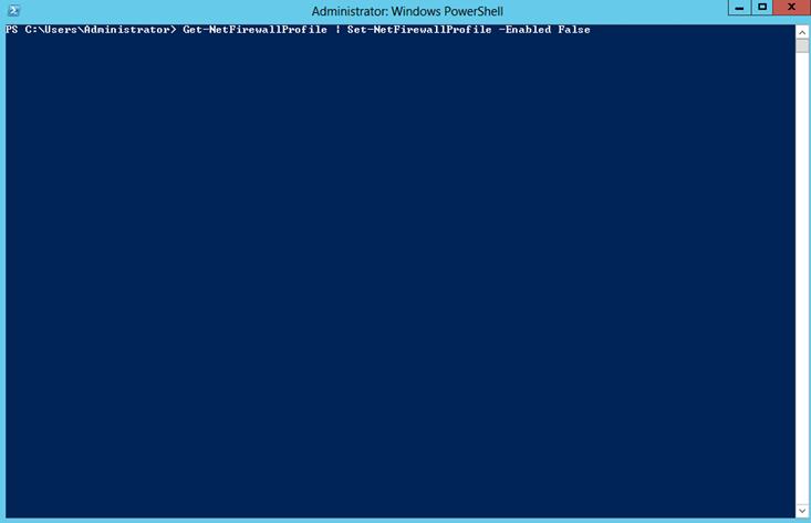 Ilustración 1 – Deshabilitación masiva de estado de Firewall en todos los perfiles de Windows Firewall en Windows Server 2012.