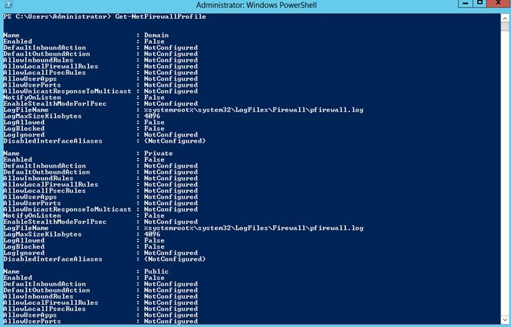 Ilustración 2 – Verificación de estado de Firewall en todos los perfiles de Windows Firewall en Windows Server 2012.