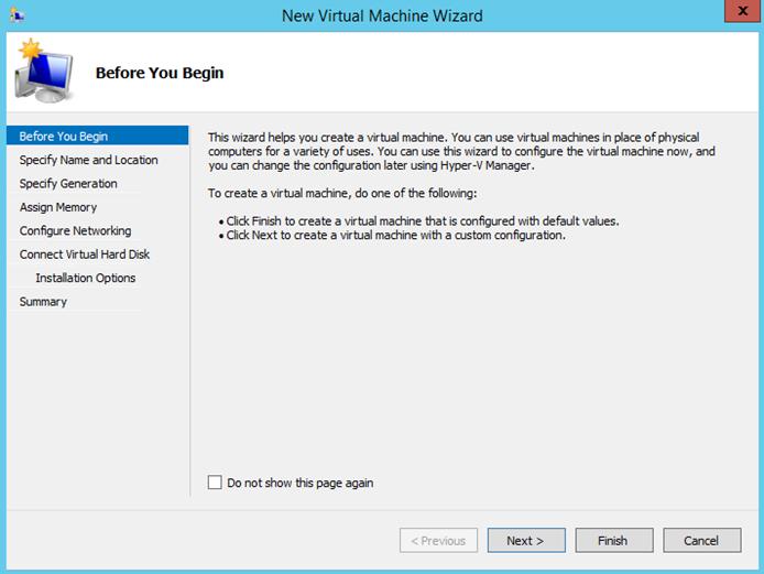 Ilustración 1 – Asistente de creación de Máquina Virtual en Windows Server 2012 R2: creación de equipo generación 2.