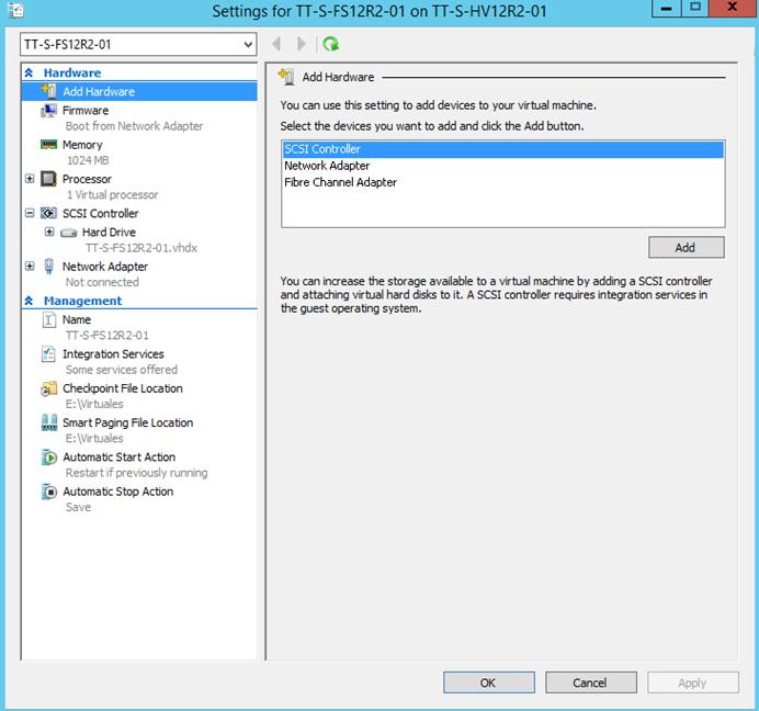 Ilustración 13 - Propiedades de un equipo virtual Generación 1 en Windows Server 2012 R2.