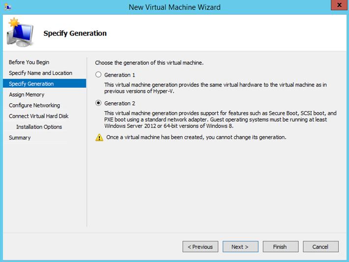 Ilustración 3 - Asistente de creación de Máquina Virtual en Windows Server 2012 R2: creación de equipo generación 2.