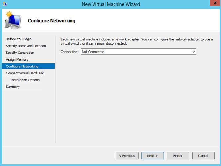 Ilustración 5 - Asistente de creación de Máquina Virtual en Windows Server 2012 R2: creación de equipo generación 2.