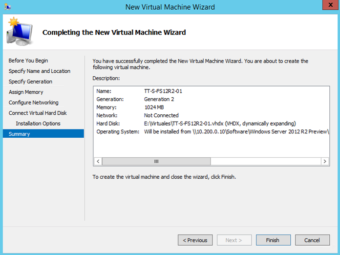 Ilustración 8 - Asistente de creación de Máquina Virtual en Windows Server 2012 R2: creación de equipo generación 2.