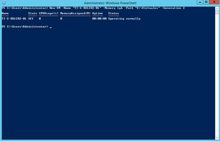 Ilustración 9 – Creación de un equipo virtual generación 2 con PowerShell en Windows Server 2012 R2.