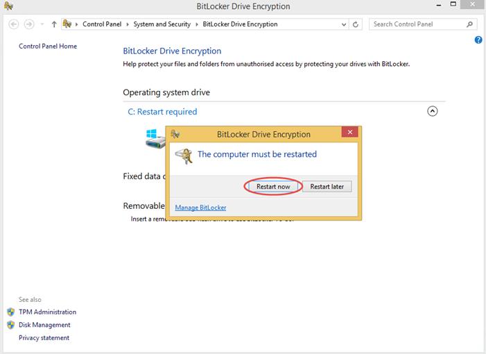 Ilustración 11 – Habilitación de BitLocker en Windows 8.1 Professional. Ejecución de la encriptación.