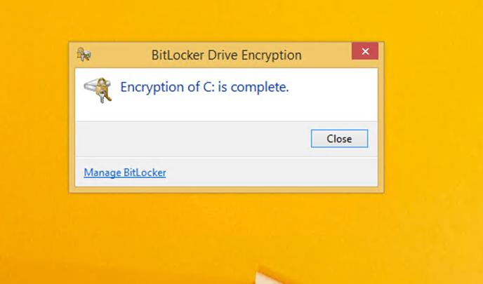 Ilustración 15 – Habilitación de BitLocker en Windows 8.1 Professional. Primer reinicio con la unidad iniciando la encriptación.
