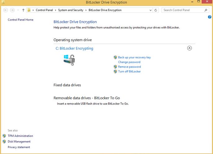 Ilustración 16 – Habilitación de BitLocker en Windows 8.1 Professional. Opciones de BitLocker una vez activado en la unidad de sistema operativo.