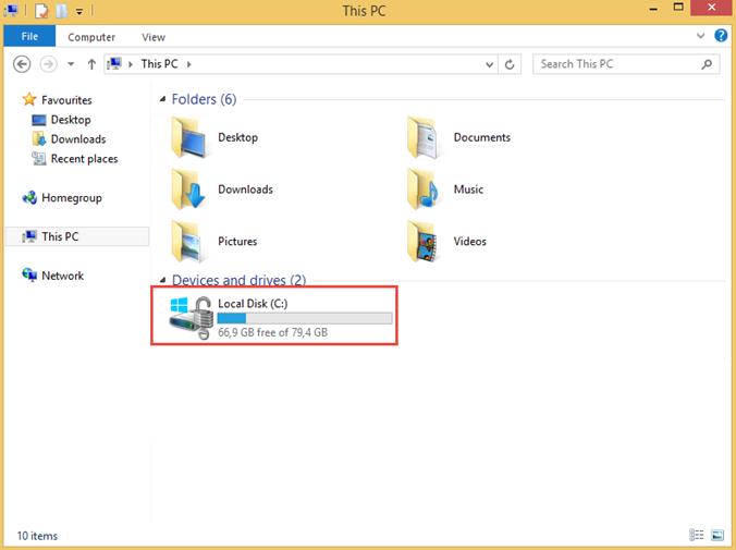 """Ilustración 17 – Habilitación de BitLocker en Windows 8.1 Professional. Detalle de ícono de la unidad """"C"""" de nuestro sistema operativo."""