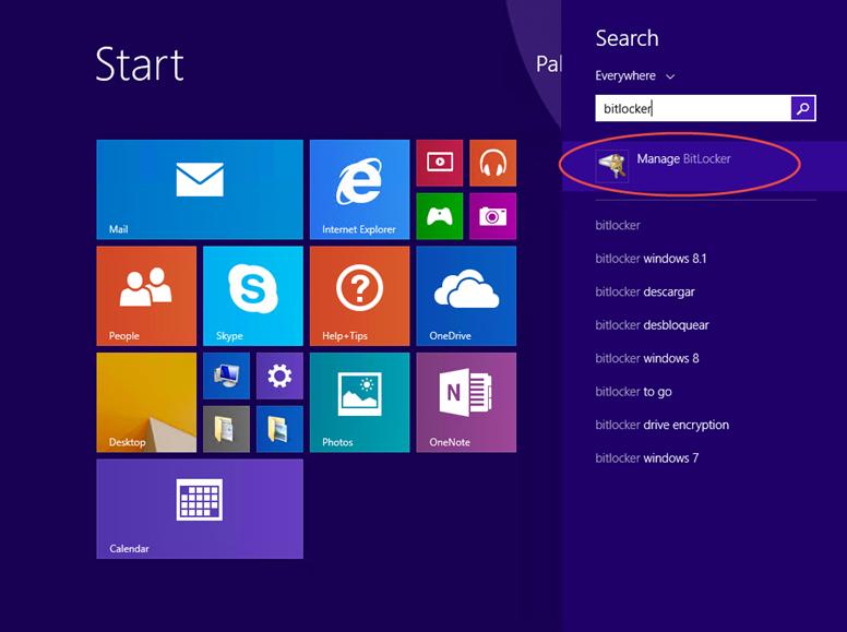 Ilustración 1 – Habilitación de BitLocker en Windows 8.1 Professional.