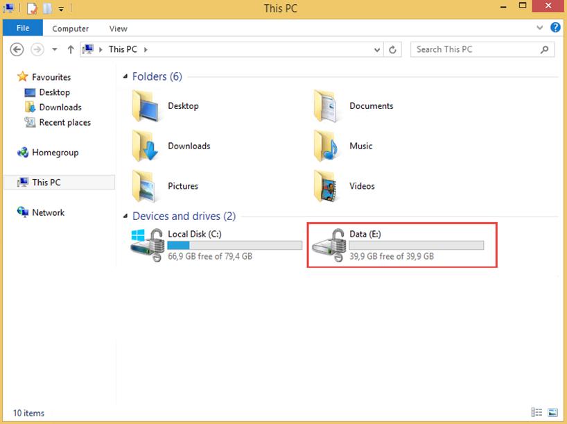 """Ilustración 12 – Habilitación de BitLocker en Windows 8.1 Professional. Detalle de ícono de la unidad """"E"""" de nuestro equipo."""