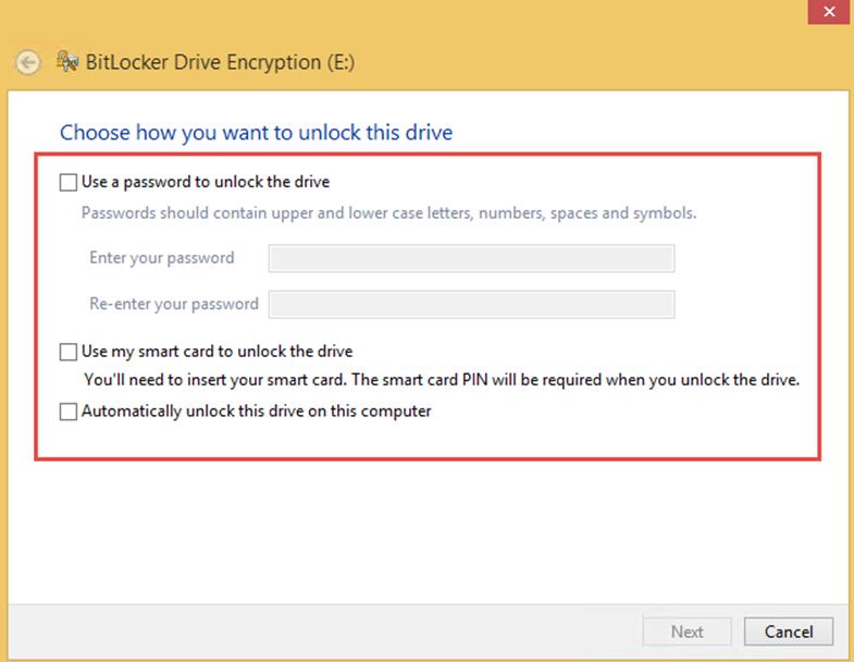 Ilustración 3 – Habilitación de BitLocker en Windows 8.1 Professional. Elección de método de desbloqueo de disco de datos.