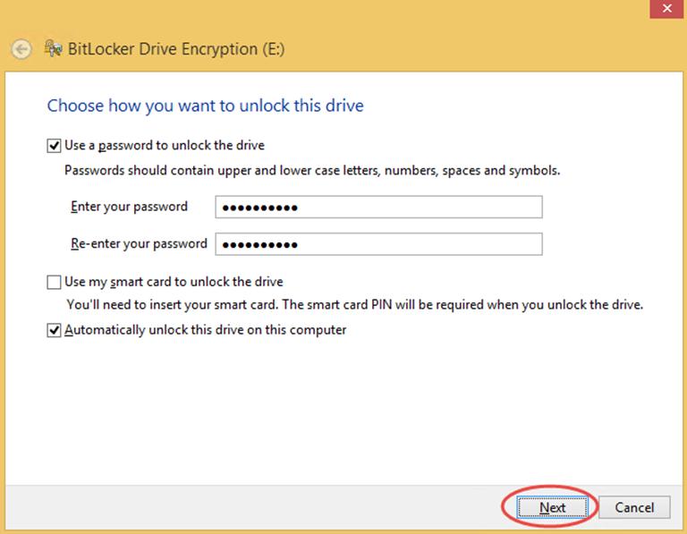 Ilustración 4 – Habilitación de BitLocker en Windows 8.1 Professional. Elección de método de desbloqueo de disco de datos.