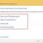 Ilustración 6 - Habilitación de BitLocker en Windows 8.1 Professional. Opciones de resguardo de clave de recuperación.