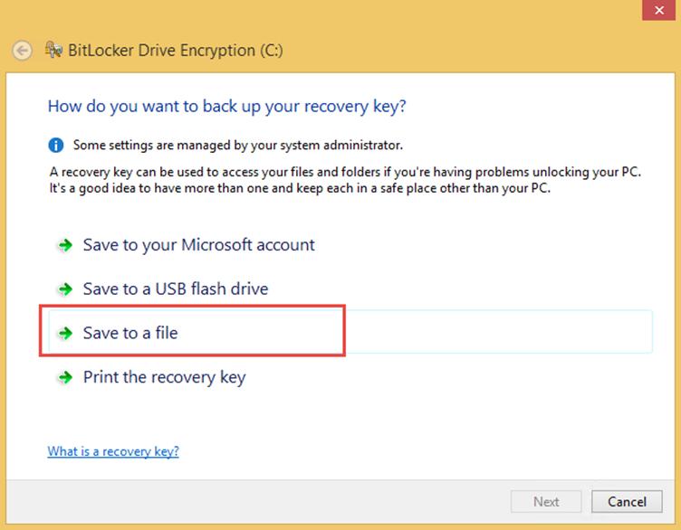 Ilustración 7 – Habilitación de BitLocker en Windows 8.1 Professional. Resguardo de la Clave de Recuperación.