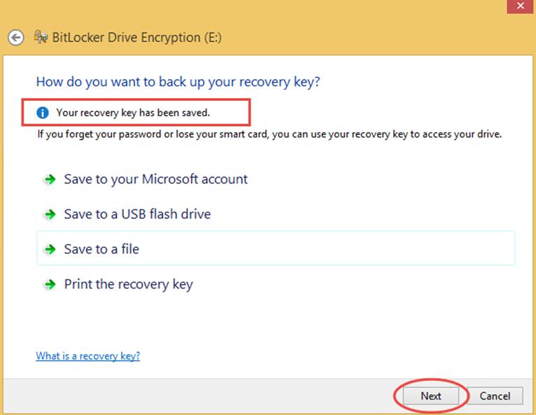 Ilustración 8 – Habilitación de BitLocker en Windows 8.1 Professional. Resguardo de la Clave de Recuperación.