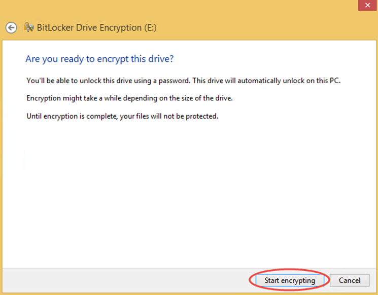 Ilustración 9 – Habilitación de BitLocker en Windows 8.1 Professional. Ejecución de la encriptación.