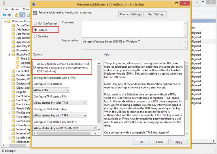Ilustración 4 – Remediación de error en BitLocker sin TPM. Edición de Políticas de Grupo.