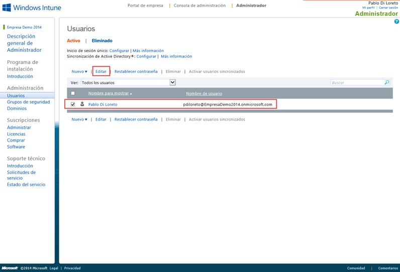 Ilustración 6 – Alta de suscripción Trial a través del Sitio Web de Windows Intune. Asignación de Licencia de Windows Intune al primer usuario creado.