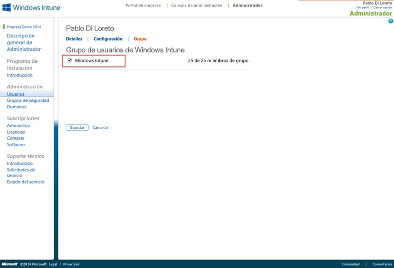 Ilustración 7 – Alta de suscripción Trial a través del Sitio Web de Windows Intune. Asignación de Licencia de Windows Intune al primer usuario creado.