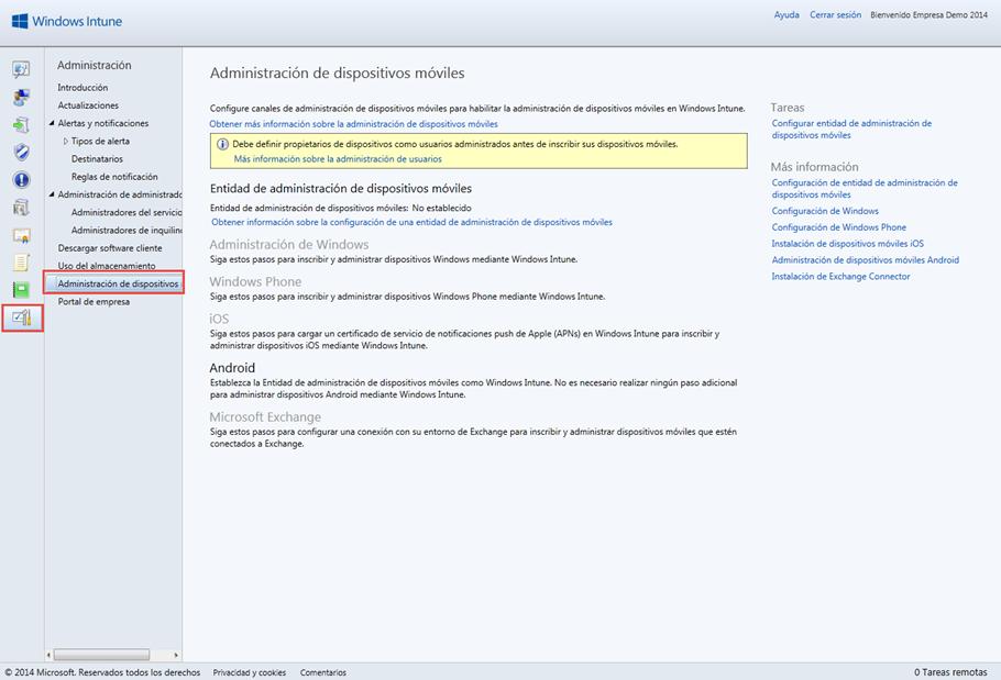 Ilustración 1 – Área de Trabajo para la Configuración de la Administración de Dispositivos Móviles en la Consola de Administración de Windows Intune.