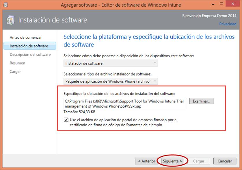 Ilustración 17 – Configuración de Dispositivos Windows Phone para administrarlos a través de Windows Intune. Publicación de aplicación firmada de ejemplo.