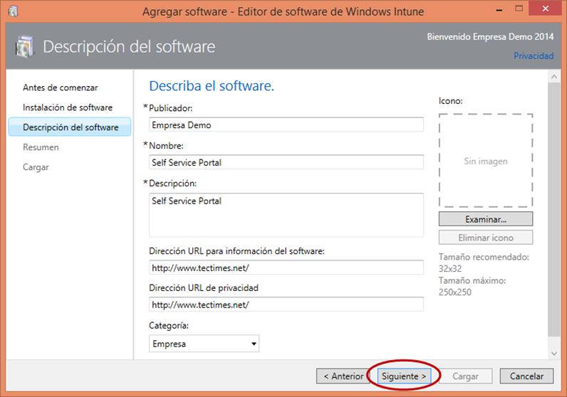 Ilustración 18 – Configuración de Dispositivos Windows Phone para administrarlos a través de Windows Intune. Publicación de aplicación firmada de ejemplo.