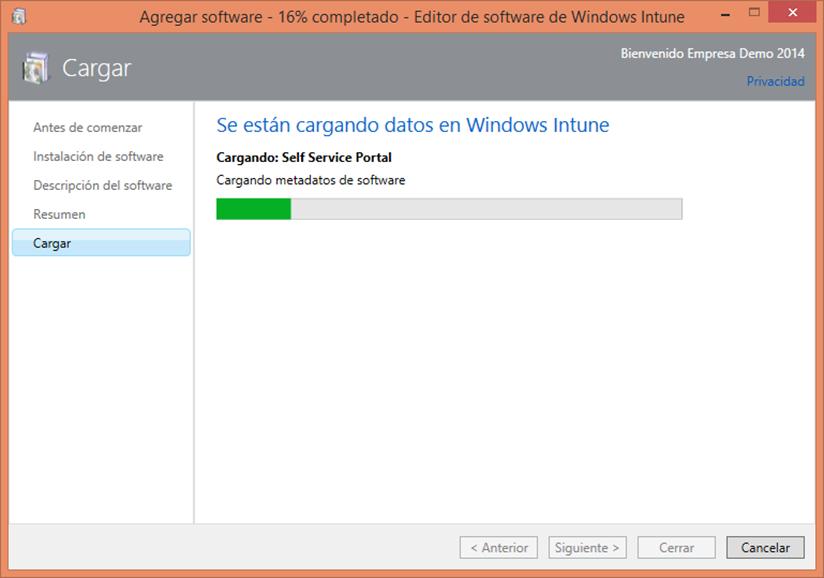Ilustración 20 – Configuración de Dispositivos Windows Phone para administrarlos a través de Windows Intune. Publicación de aplicación firmada de ejemplo.