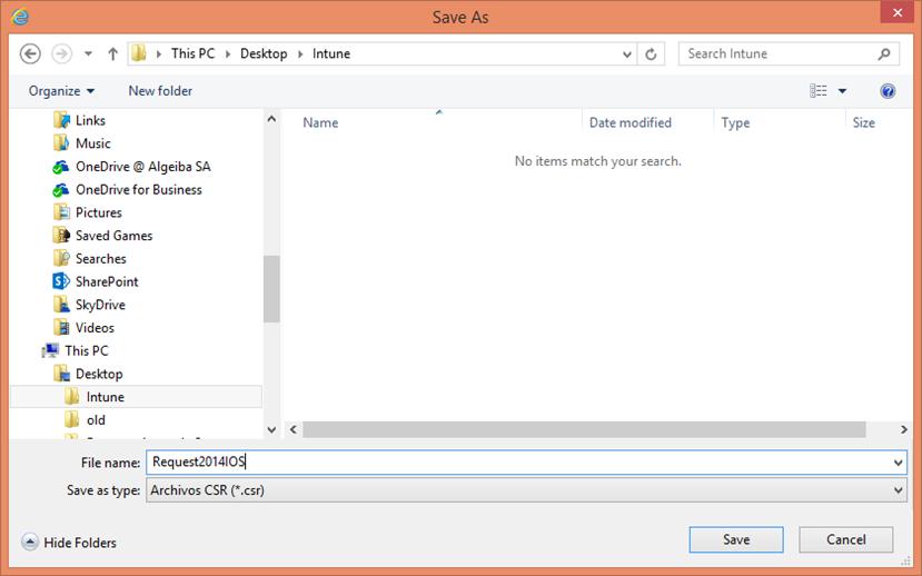 Ilustración 24 – Configuración de Dispositivos iOS para administrarlos a través de Windows Intune. Generación de Requerimiento de Certificado.