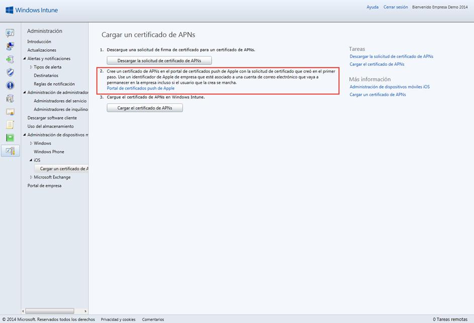 """Ilustración 25 – Configuración de Dispositivos iOS para administrarlos a través de Windows Intune. Generación de Certificado Digital en el Portal de """"Apple Push Certificate""""."""