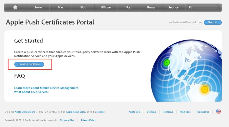 """Ilustración 27 – Configuración de Dispositivos iOS para administrarlos a través de Windows Intune. Generación de Certificado Digital en el Portal de """"Apple Push Certificate""""."""